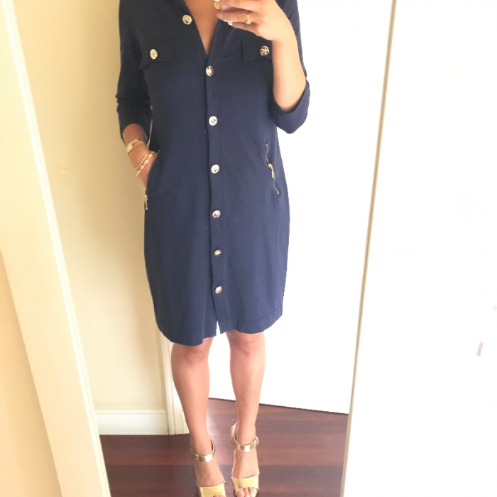 Vestido midi azul marino