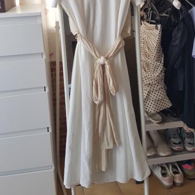 Vestido drapeado blanco Best for less