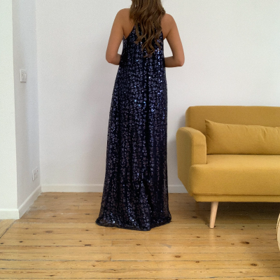 Vestido fiesta azul marino Best for less