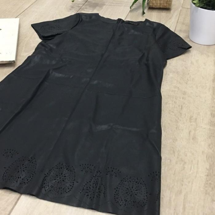 vestido piel sintetica azu