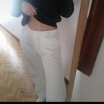 Pantalón recto blanco Best for less