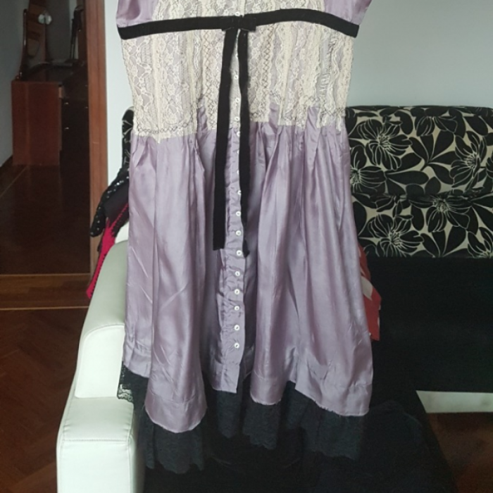 Vestido seda y encaje