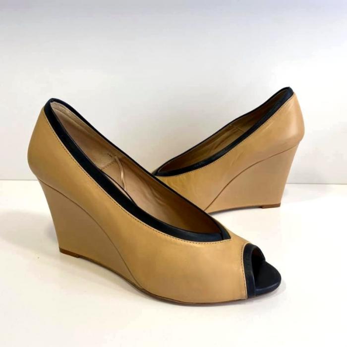 Zapatos piel tacon cuña