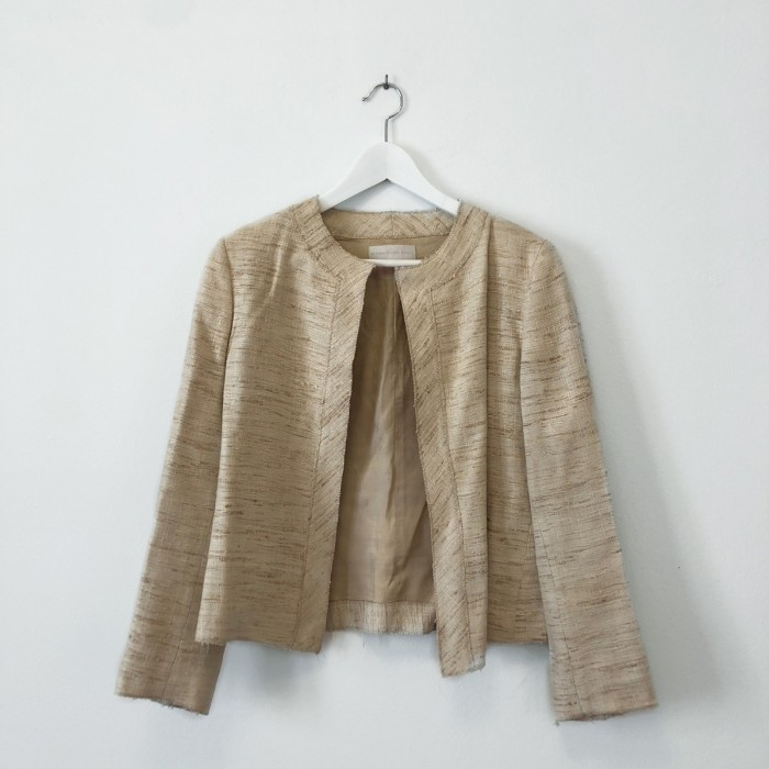 Chaqueta tweed beige