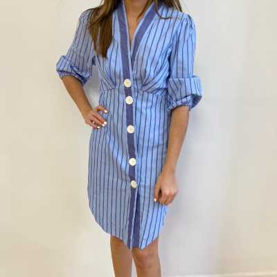 Vestido Rayas Azules Best for less