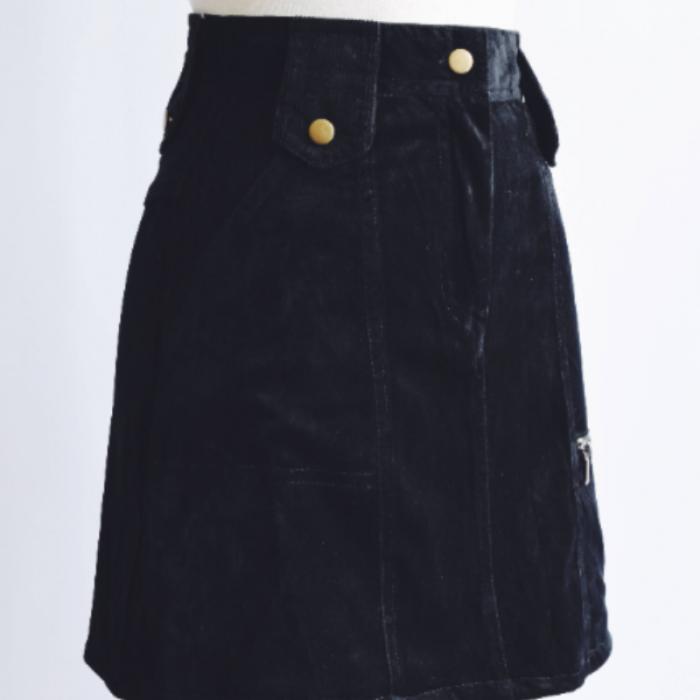 Falda Vintage Negra Pana