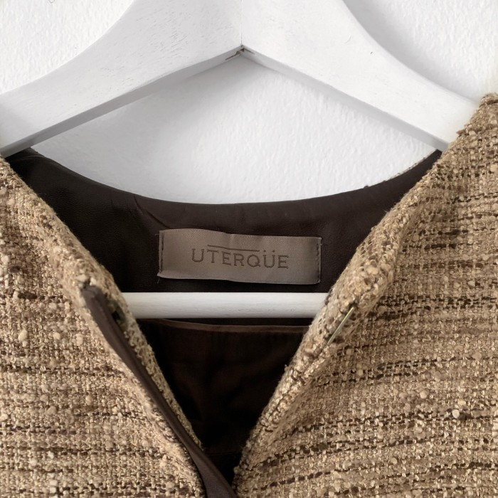 Chaqueta tweed en marrón