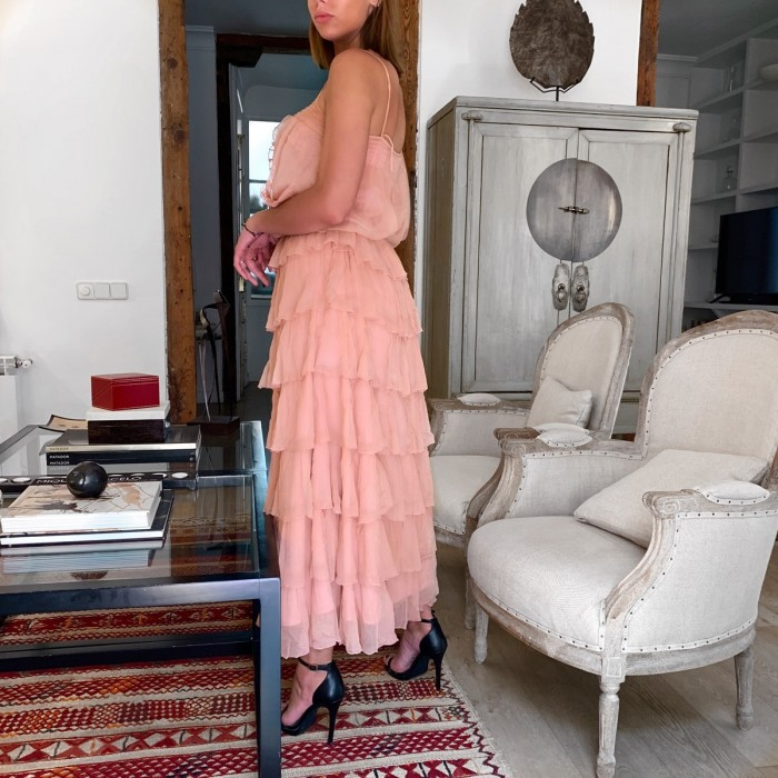 Vestido largo seda rosa