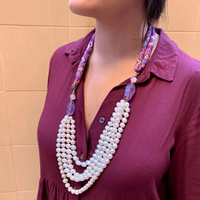 Collar perlas y amatistas