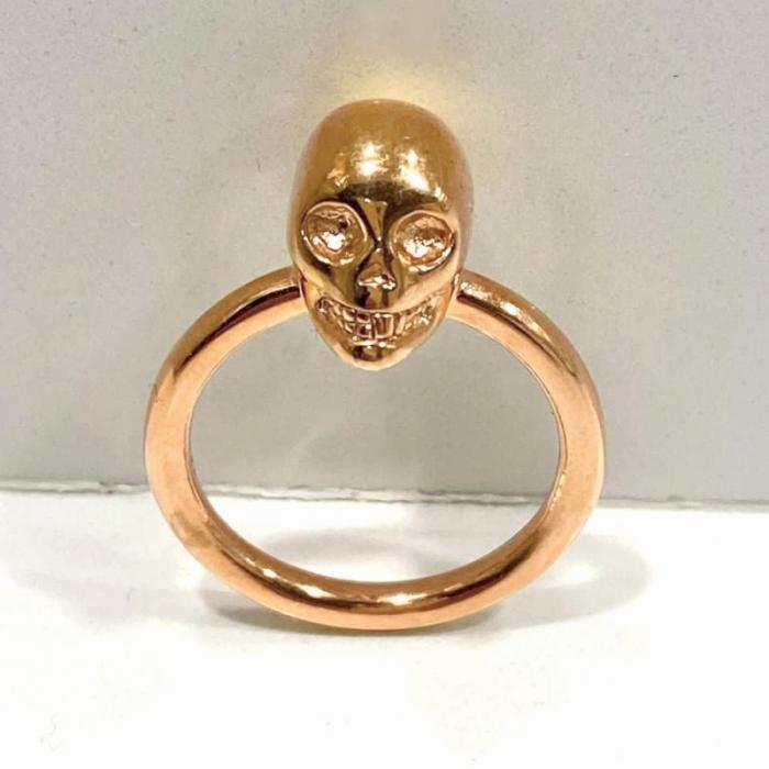 anillo calavera plata