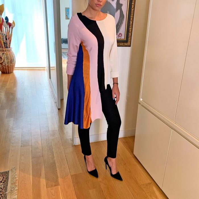 Vestido lana asimétrico