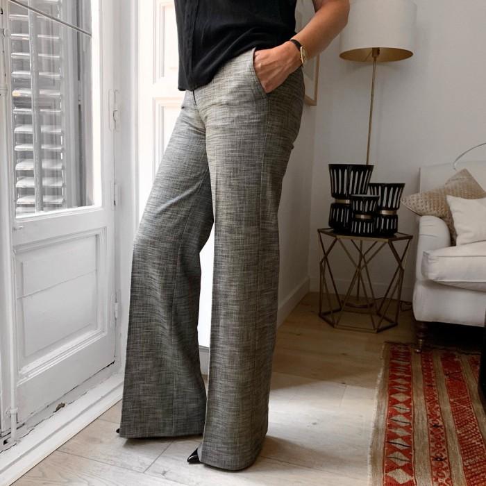 Pantalón recto blanco y negro