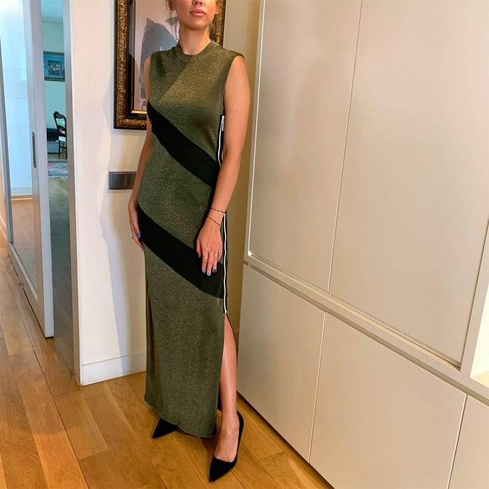 Vestido largo punto lamé