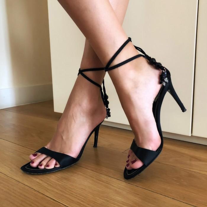 Sandalia abierta raso