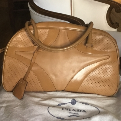 Bolso bowling beige cuero Best for less