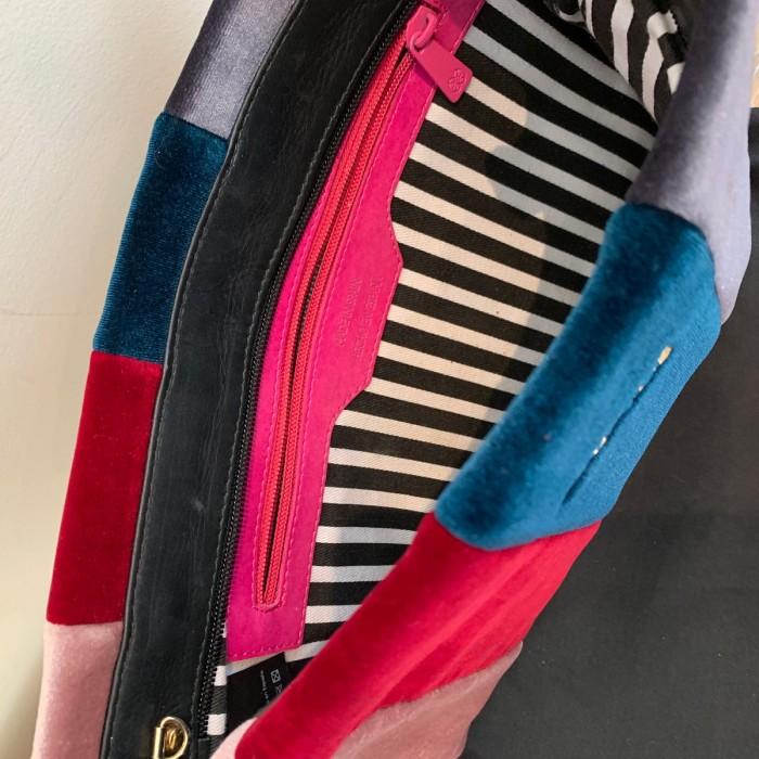 Bolso terciopelo rayas multicolor