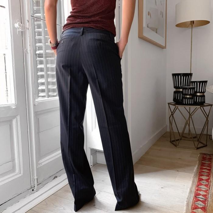 Pantalón traje azul rayas