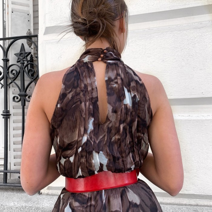 Vestido largo seda marrón