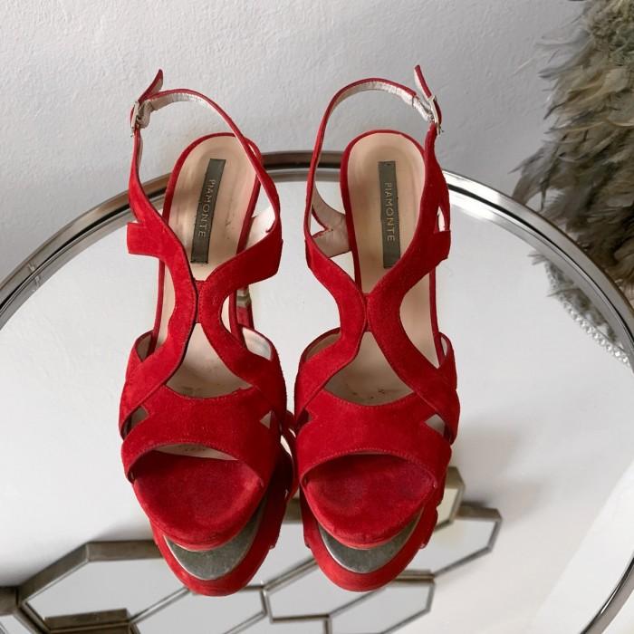 Sandalia tacón rojo