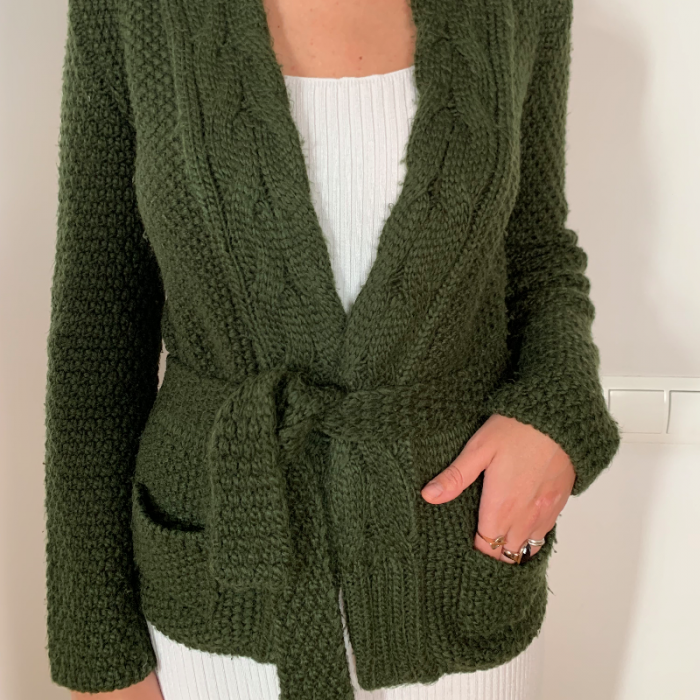 Cardigan verde lana