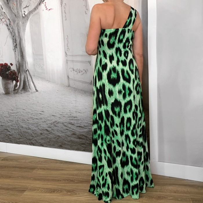 Vestido largo animal print