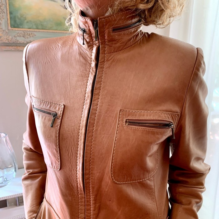 Cazadora piel napa marrón