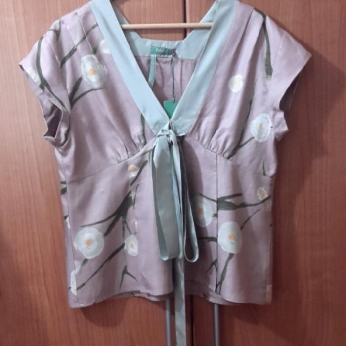 Top seda y lino estamapado