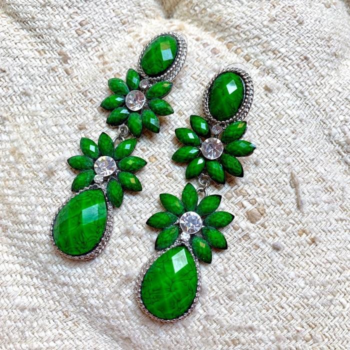 Pendientes largos verde