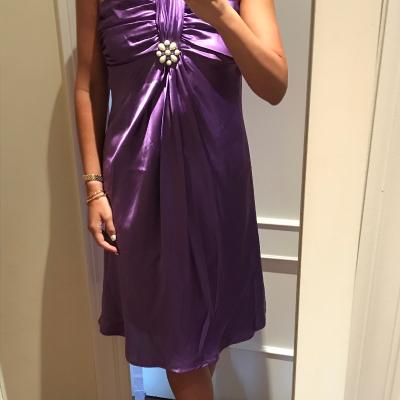 Vestido midi morado raso Best for less