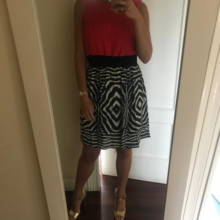 Vestido midi dos colores